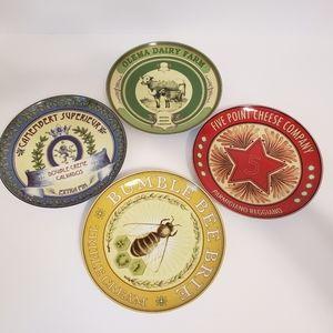 Pottery Barn Vintage Label Set of 4 Plates